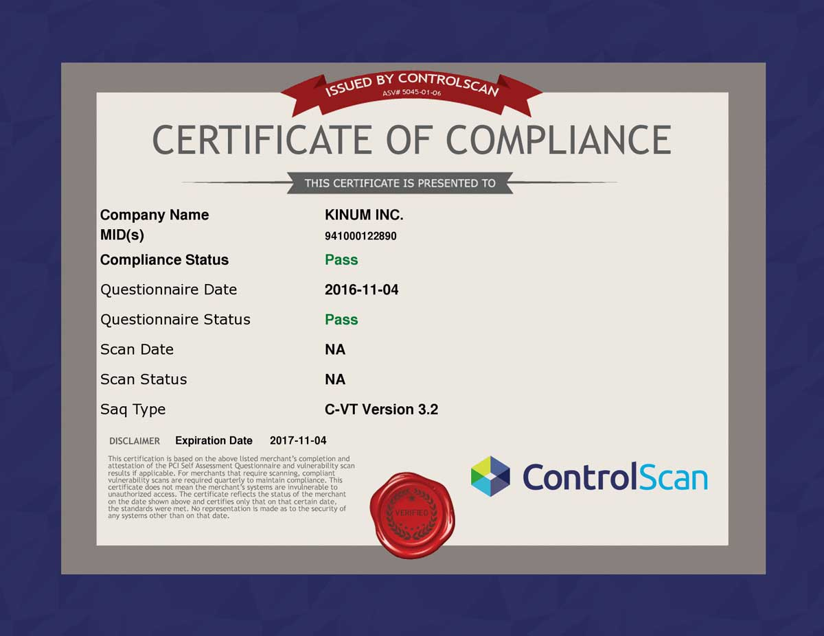 Kinum Maintains Pci Certification Kinum
