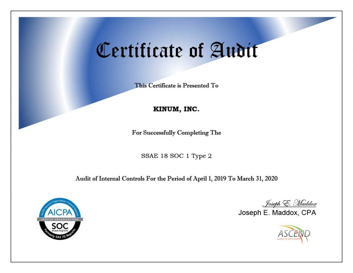 Kinum-SOC-1-Certificate-of-Audit-033120